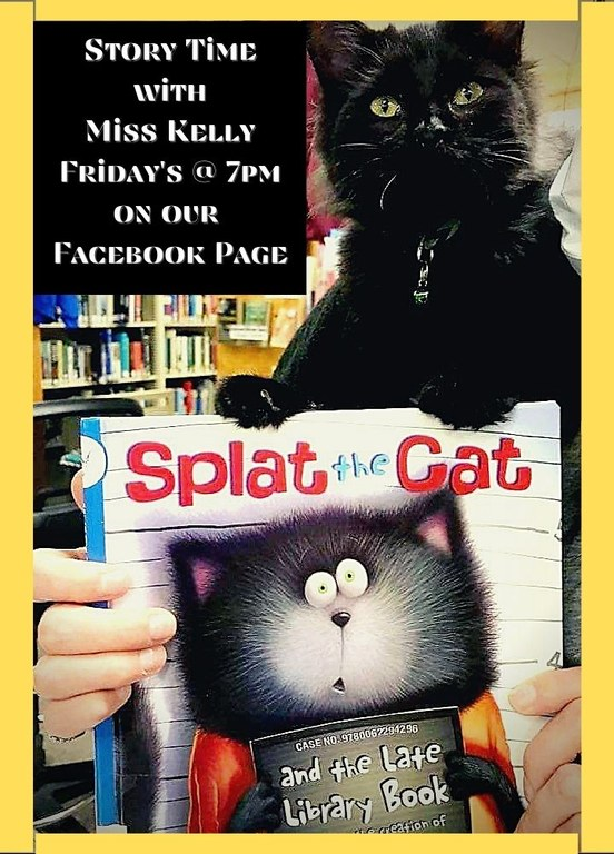 Story Times at 7pm on the PIDL Facebook page picture of black cat holding library book